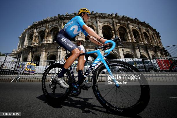 Start / Marc Soler of Spain and Movistar Team / Nîmes Arena Amphitheater / during the 106th Tour de France 2019 Stage 16 a 177km stage from Nîmes to...