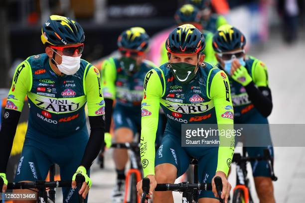 Start / Marco Frapporti of Italy and Team Vini Zabu KTM / Mask / Covid safety measures / Team Presentation / during the 103rd Giro d'Italia 2020 -...