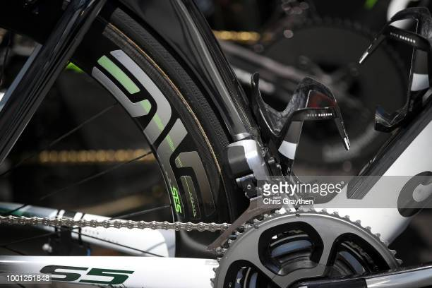 Start / Mark Cavendish of Great Britain and Team Dimension Data / Durance Front Derailleur / Cervelo Bike / Detail view / during the 105th Tour de...