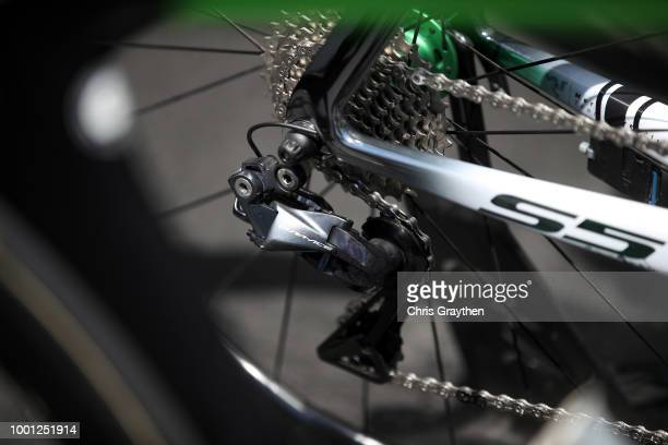 Start / Mark Cavendish of Great Britain and Team Dimension Data / Durance Derailleur pulley / Cervelo Bike / Detail view / during the 105th Tour de...