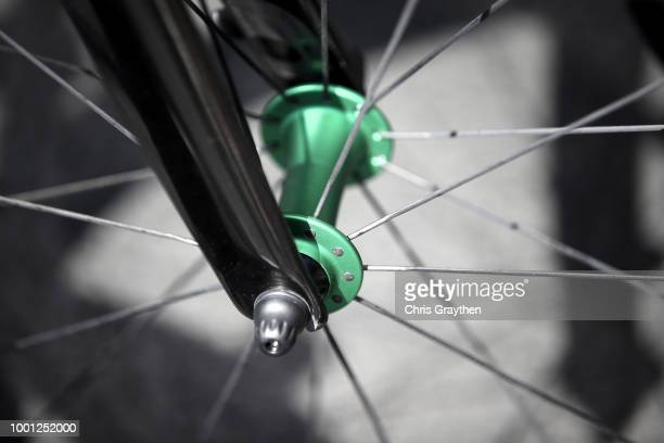 Start / Mark Cavendish of Great Britain and Team Dimension Data / Front Dropout / Cervelo Bike / Detail view / during the 105th Tour de France 2018...