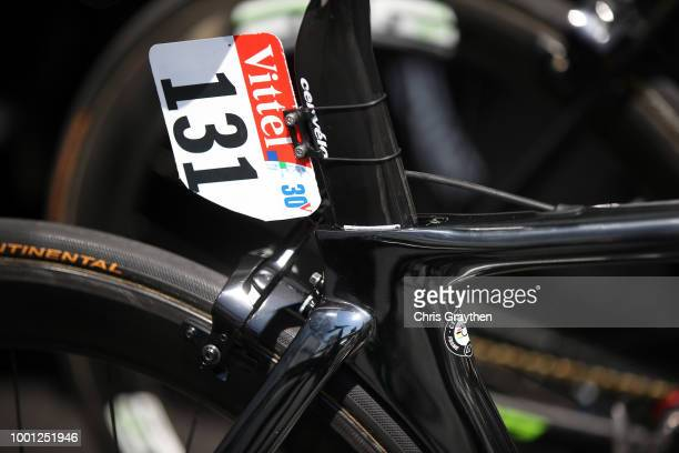 Start / Mark Cavendish of Great Britain and Team Dimension Data / Number / Cervelo Bike / Detail view / during the 105th Tour de France 2018 Stage 11...