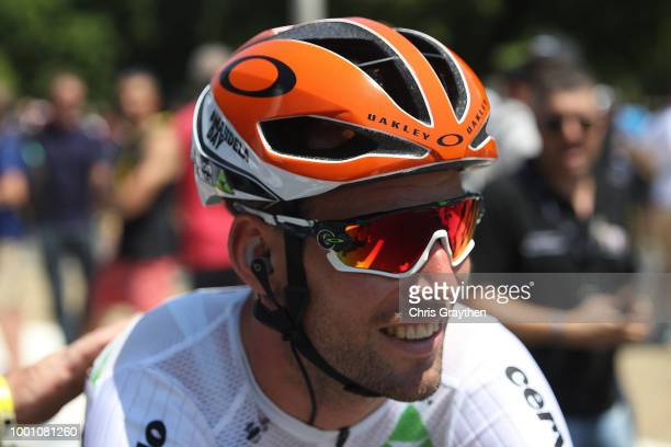 Start / Mark Cavendish of Great Britain and Team Dimension Data / Red Oakley Helmet in honor of Nelson Mandela in what would be his 100th birthday...