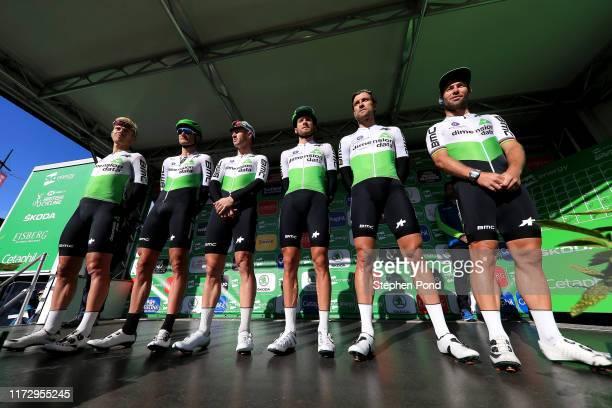 Start / Mark Cavendish of Great Britain and Team Dimension Data / Steve Cummings of Great Britain and Team Dimension Data / Danilo Wyss of...