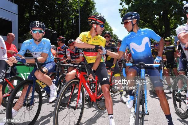 Start / Mark Christian of Great Britain and Aqua Blue Sport Team Blue Mountain Jersey / Richie Porte of Australia and BMC Racing Team Yellow Leader...