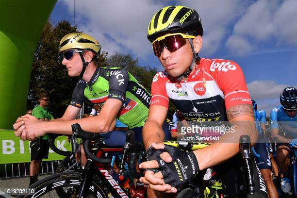 Start / Matej Mohoric of Slovenia and Team Bahrain Merida Green Leader Jersey / Caleb Ewan of Australia and Team Mitchelton Scott Red Points Jersey /...