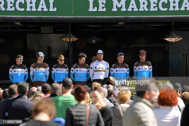 Start / Mathias Frank of Switzerland and Team AG2R La Mondiale / Clement Chevrier of France and Team AG2R La Mondiale / Nico Denz of Germany and Team...