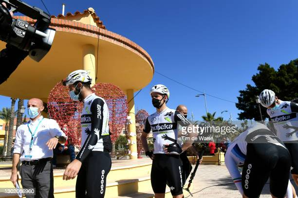Start / Matteo Pelucchi of Italy and & Victor Campenaerts of Belgium and Team Qhubeka Assos during the 34th Clásica de Almeria 2021 a 183,3km race...
