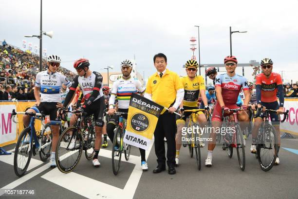 Start / Matteo Trentin of Italy and Team Mitchelton Scott / Alexander Kristoff of Norway and UAE Team Emirates / Alejandro Valverde of Spain and...
