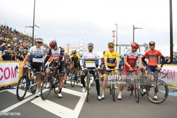 Start / Matteo Trentin of Italy and Team Mitchelton Scott / Alexander Kristoff of Norway and UAE Team Emirates / Alejandro Valverde of Spain and...