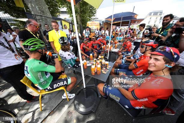 Start / Matteo Trentin of Italy and Team Mitchelton-Scott / Vincenzo Nibali of Italy and Team Bahrain-Merida / Ivan Garcia of Spain and Team...