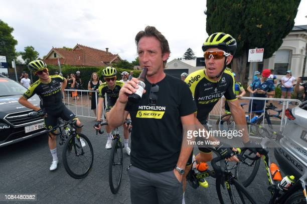 Start / Matthew White of Australia Sport director Team Mitchelton-Scott / Luke Durbridge of Australia and Team Mitchelton-Scott / Beer / during the...
