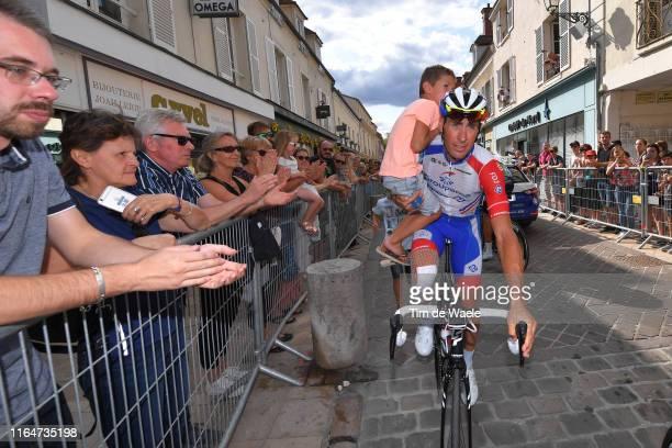 Start / Matthieu Ladagnous of France and Team Groupama-FDJ / Son / Children / Fans / Public / Rambouillet City / during the 106th Tour de France...