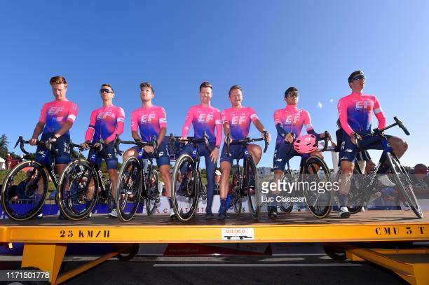 Start / Matti Breschel of Denmark and Team EF Education First / Simon Clarke of Australia and Team EF Education First / Tanel Kangert of Estonia and...