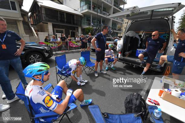 Start / Mattia Cattaneo of Italy and Team Deceuninck - Quick-Step / Dries Devenyns of Belgium and Team Deceuninck - Quick-Step / Glenelg City /...