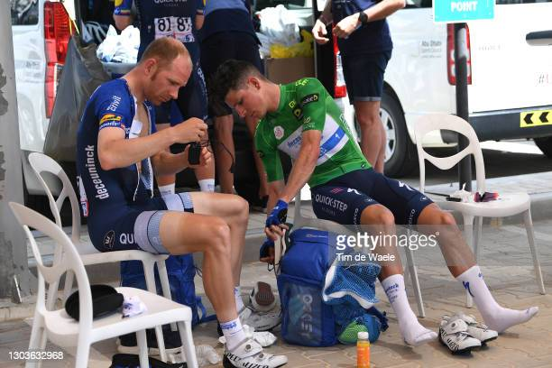 Start / Michael Morkov of Denmark & Joao Almeida of Portugal and Team Deceuninck - Quick-Step Green Points Jersey during the 3rd UAE Tour 2021, Stage...