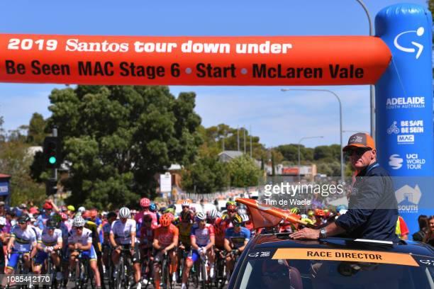 Start / Michael Turtur of Australia TDU Race Director / Peloton / during the 21st Santos Tour Down Under 2019, Stage 6 a 151,5km stage from McLaren...