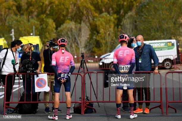 Start / Michael Woods of Canada and Team EF Pro Cycling / Magnus Cort Nielsen of Denmark and Team EF Pro Cycling / Press Media / Social distance /...