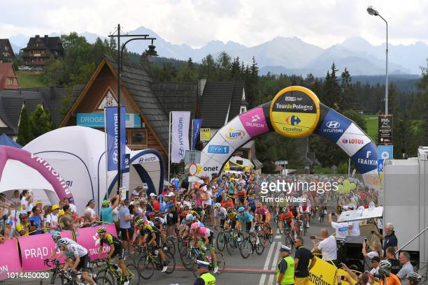 Start / Michal Golas of Poland and Team Sky / Lukasz Wisniowski of Poland and Team Sky / Carlos Verona Quintanilla of Spain and Team Mitchelton Scott...