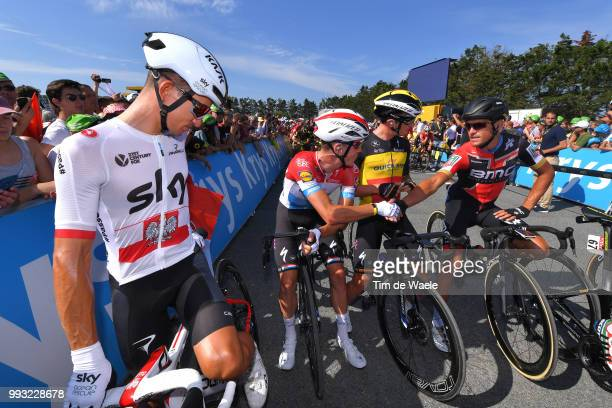 Start / Michal Kwiatkowski of Poland and Team Sky / Bob Jungels of Luxembourg and Team Quick-Step Floors / Yves Lampaert of Belgium and Team...
