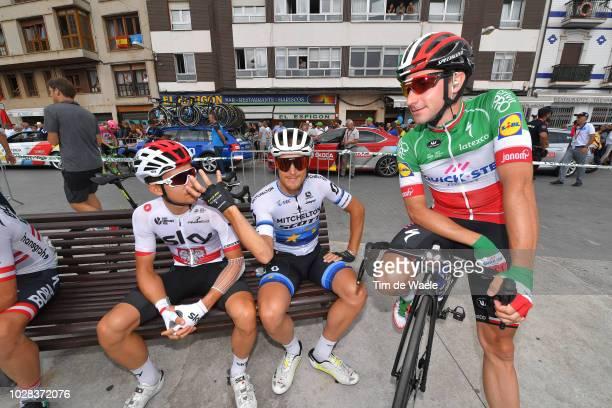 Start / Michal Kwiatkowski of Poland and Team Sky / Matteo Trentin of Italy and Team Mitchelton-Scott / Elia Viviani of Italy and Team Quick-Step...