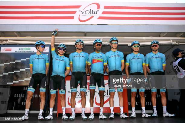 Start / Miguel Angel Lopez Moreno of Colombia and Astana Pro Team / Pello Bilbao Lopez of Spain and Astana Pro Team / Merhawi Kudus Ghebremedhin of...