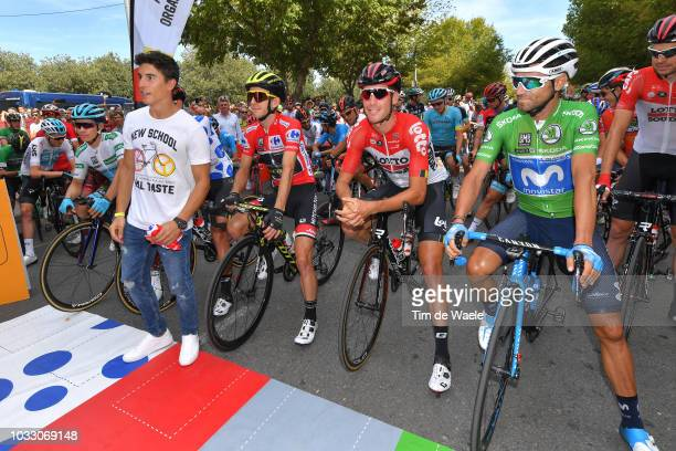 Start / Miguel Angel Lopez of Colombia and Astana Pro Team White Combined Jersey / Thomas De Gendt of Belgium and Team Lotto Soudal Polka Dot...
