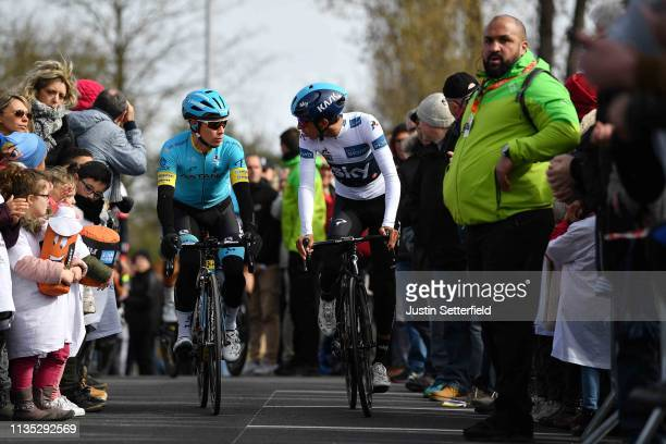 Start / Miguel Ángel Lopez Moreno of Colombia and Astana Pro Team / Egan Arley Bernal of Colombia and Team Sky White Best Young Jersey / Fans /...
