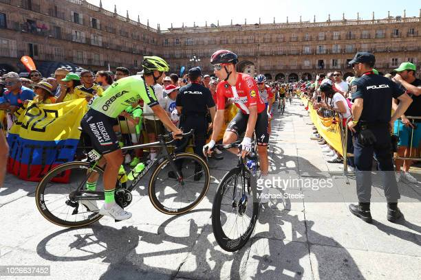 Start / Mikel Iturria of Spain and Team Euskadi Murias / Michael Morkov of Denmark and Team QuickStep Floors / Main Square of Salamanca / Public /...