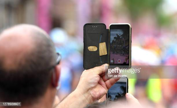Start / Mileto City / Fans / Public / Peloton / Phone / Detail view / during the 103rd Giro d'Italia 2020, Stage 5 a 225km stage from Mileto to...