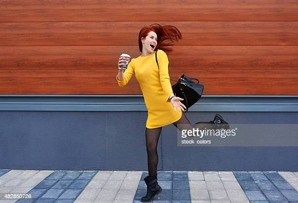 start my day with energy - yellow dress stock pictures, royalty-free photos & images