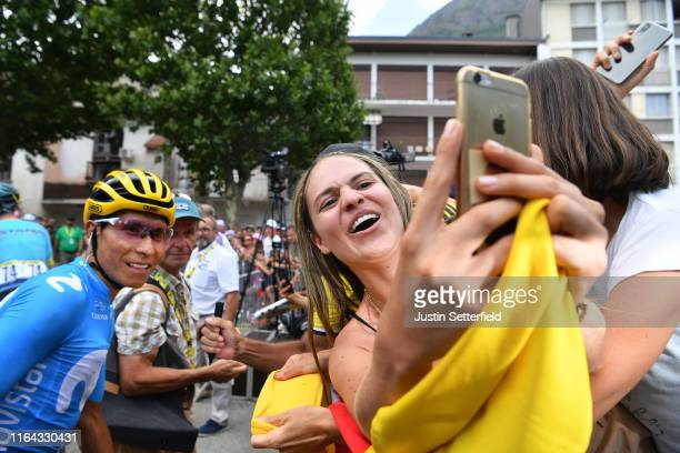Start / Nairo Quintana of Colombia and Movistar Team / Colombian Fans / Public / Saint-Jean-de-Maurienne Village / during the 106th Tour de France...