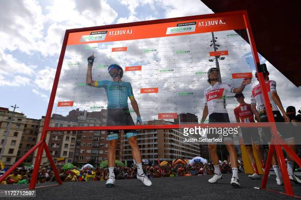 Start / Nairo Quintana of Colombia and Movistar Team Green Points Jersey / Signature / Bilbao City / during the 74th Tour of Spain 2019 Stage 13 a...
