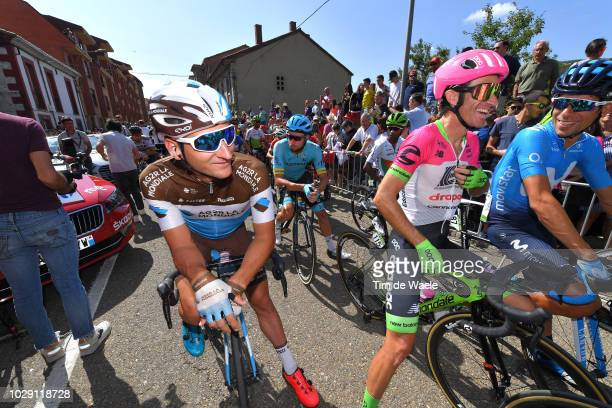 Start / Nans Peters of France and Team AG2R La Mondiale / Daniel Moreno of Spain and Team EF Education First Drapac P/B Cannondale / Nelson Oliveira...
