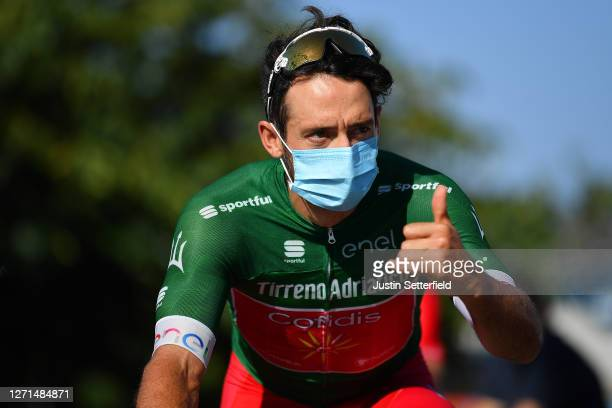 Start / Nathan Haas of Austria and Team Cofidis Green Mountain Jersey / Mask / Covid safety measures / during the 55th Tirreno-Adriatico 2020, Stage...