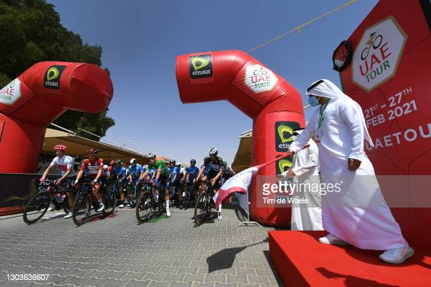 Start / Neilson Powless of United States and Team EF Education-Nippo White best young jersey, Tadej Pogacar of Slovenia and UAE Team Emirates Red...