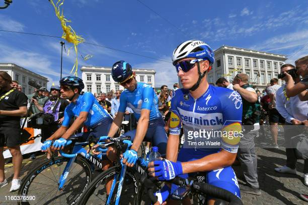 Start / Nelson Oliveira of Portugal and Movistar Team / Imanol Erviti of Spain and Movistar Team / Enric Mas of Spain and Team Deceuninck -...