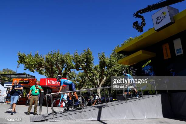 Start / Nelson Oliveira of Portugal and Movistar Team / Jose Joaquin Rojas Gil of Spain and Movistar Team / Carlos Verona Quintanilla of Spain and...