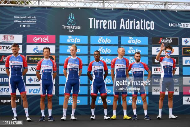 Start / Niki Terpstra of The Netherlands and Team Total Direct Energie / Jonathan Hivert of France and Team Total Direct Energie / Lorrenzo Manzin of...