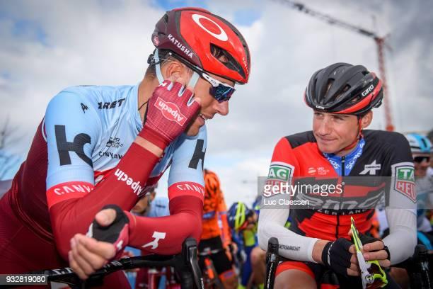 Start / Nils Politt of Germany/ Tom Bohli of Swiss and Team Katusha Alpecin / during the 16th Handzame Classic 2018 a 1991km from Bredene to Handzame...
