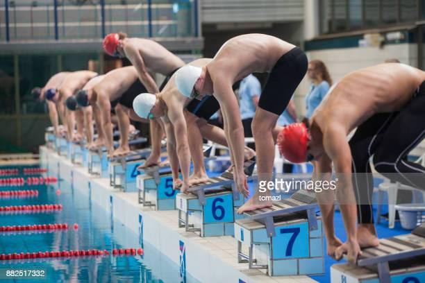 inicio de una competición de natación - oficial deportivo fotografías e imágenes de stock