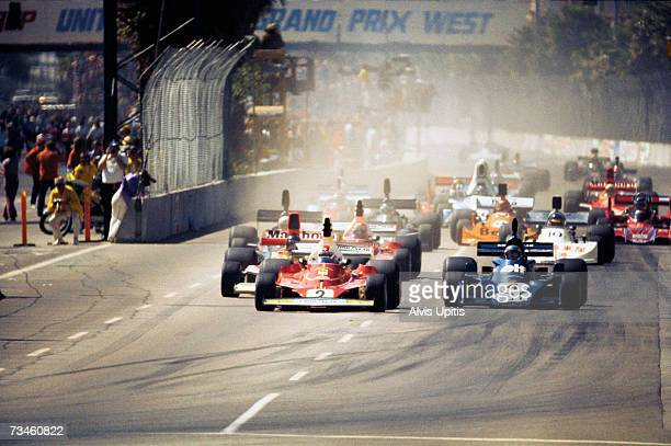 Start of inaugural Formula One Grand Prix West on March 26 1976 in Long Beach California The Ferrari of Clay Regazzoni leads the TyrellFord of...