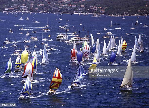 Start of Sydney to Habart yacht race in Sydney Harbour