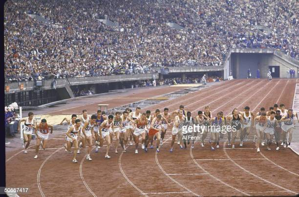 Start of the 10000 meter run at the Summer Olympics