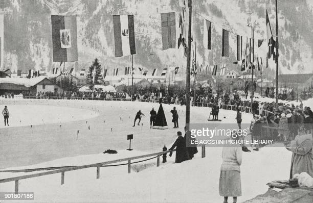 Start of the 10000 metre speed skating event Winter Olympics in Chamonix France from L'Illustrazione Italiana Year LI No 6 February 10 1924