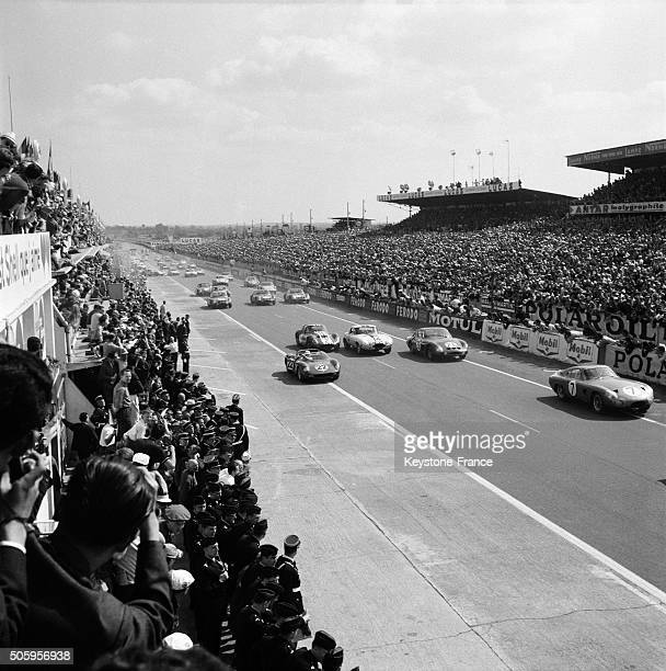 Start Of the 24 Heures Du Mans Car Racing in Le Mans France on June 16 1963