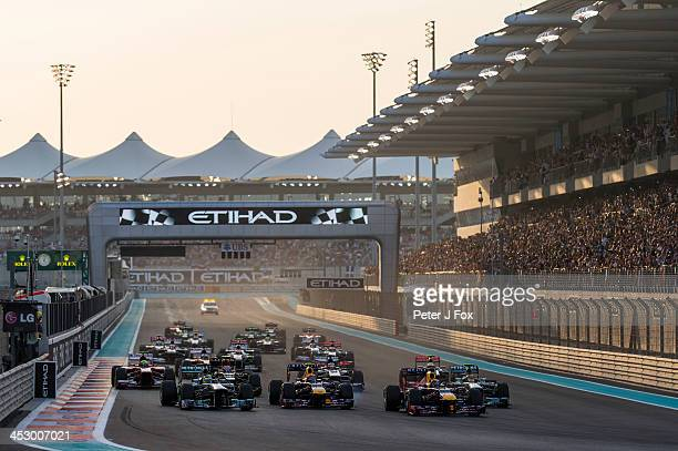 Start of the Abu Dhabi Formula One Grand Prix at the Yas Marina Circuit on November 3 2013 in Abu Dhabi United Arab Emirates