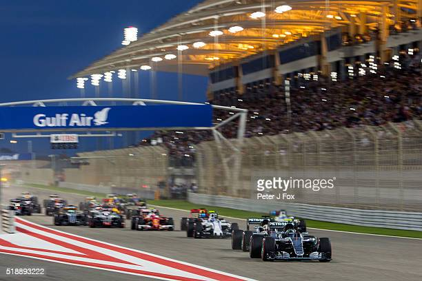 Start of the Bahrain Formula One Grand Prix at Bahrain International Circuit on April 3 2016 in Sakhir Bahrain