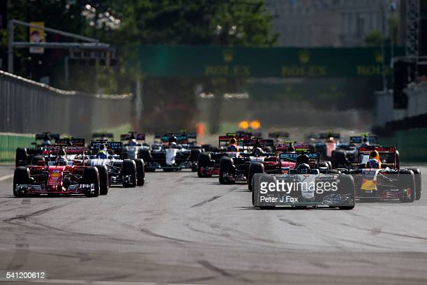 Start of the European Formula One Grand Prix at Baku City Circuit on June 19 2016 in Baku Azerbaijan