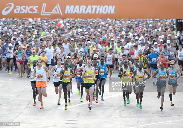 Start of the Los Angeles Marathon at Dodger Stadium on March 9 2014 in Los Angeles California